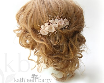 Rose gold and blush pink wedding hair comb, bridal veil hair Accessories - Ivory and silver options available