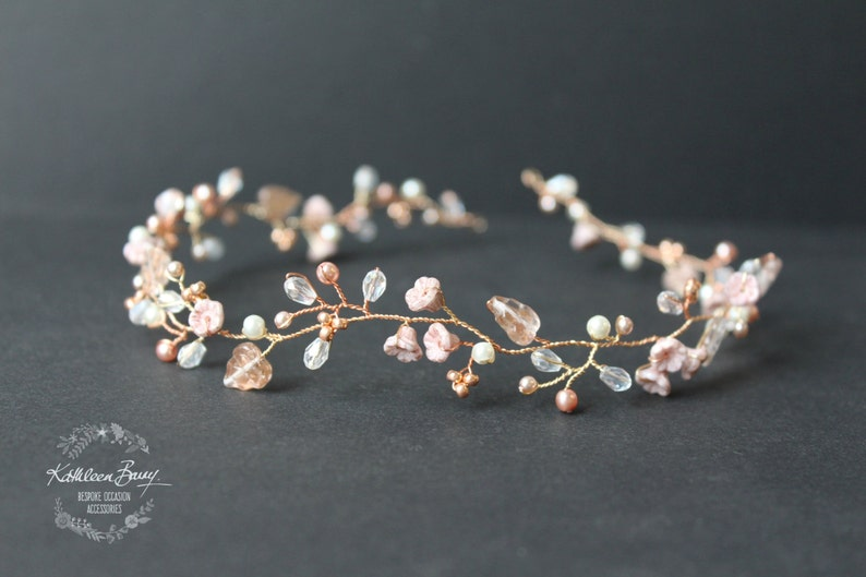 Dainty Rose gold hair vine style headband or wreath with blush image 0