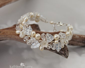 Crystal and pearl glass leaf bridal bracelet - flower statement jewelry wedding accessories rose gold colors to order STYLE Shelby