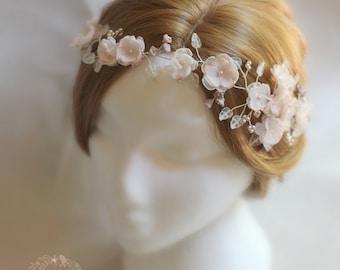 Blush pink hair vine, blossom wedding bridal hair accessory accessories - wedding headband - hair wreath - bride flower crown wreath