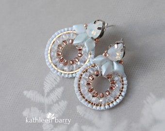 Beaded hoop statement stud earrings pale blue opal and rose gold wedding jewelery, bridal accessories - Custom colors available STYLE: Paige