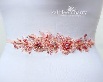 Beaded lace wedding dress belt, shades of coral - custom colors to order STYLE: Sara