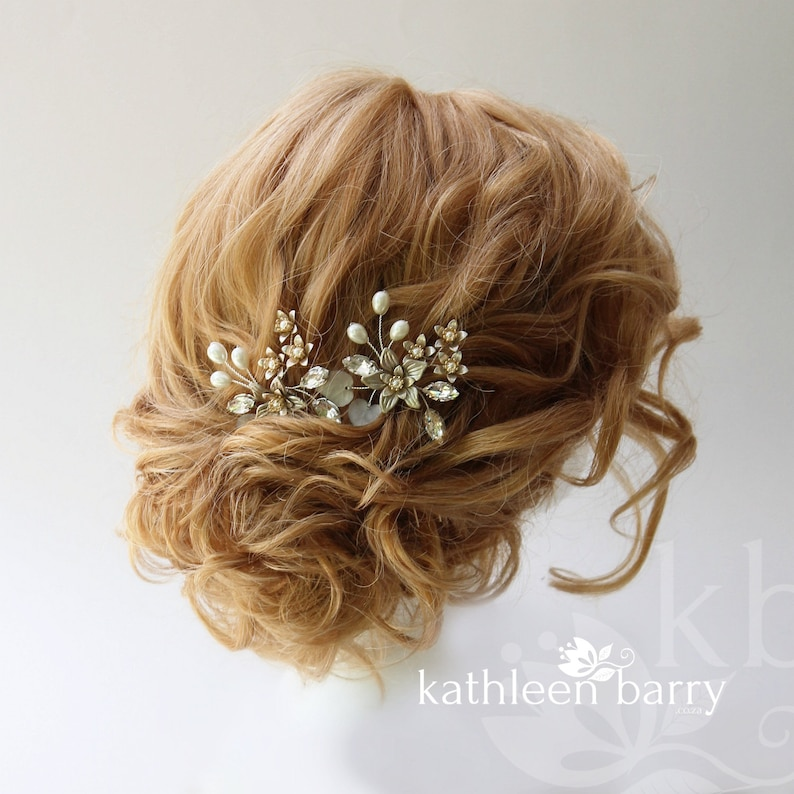 Hazel available in various finishes STYLE Pewter hair pin floral rhinetone pearl gild collection