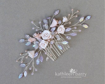 Gardenia flower statement floral and pearl hairpiece in shades of lilac, lavender and blush pinks - Custom color options available veil comb