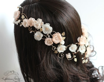 Bridal crown blush pink and ivory, rose gold toned, flower crown, wedding bridal hair accessory accessories, hair wreath STYLE:Melissa