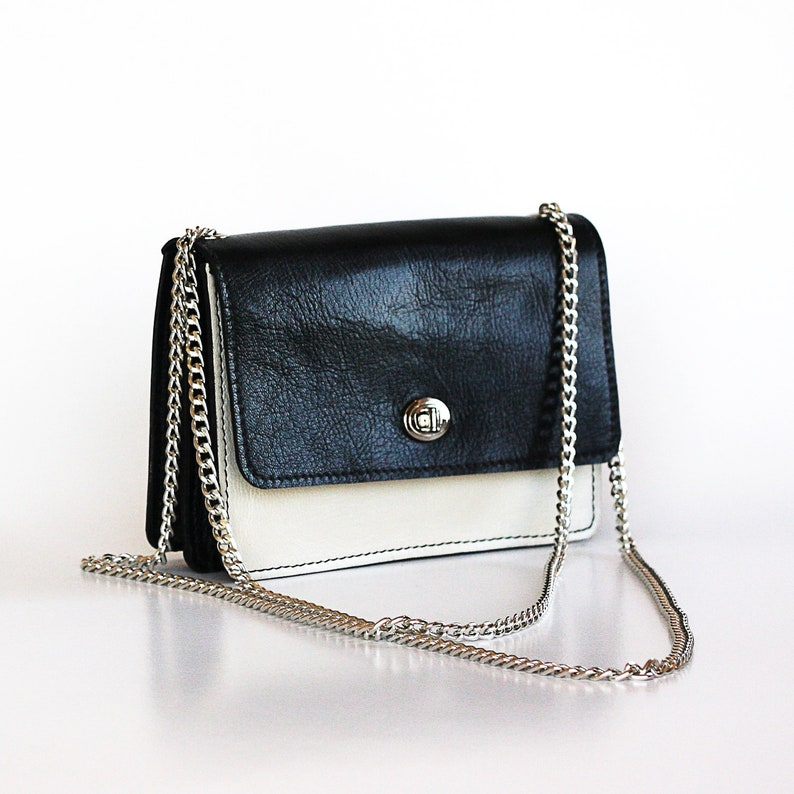 9520db884663c Black and white leather bag Leather messenger purse silver