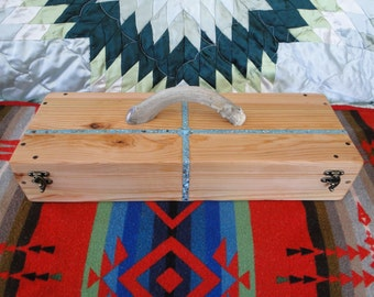 Custom Cedar Feather Box with Four Directions Turquoise inlay and Deer Antler handle