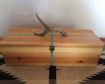 Four Directions Cedar Feather box with Turquoise Inlay