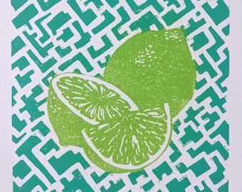 Limes limited edition original reduction linocut