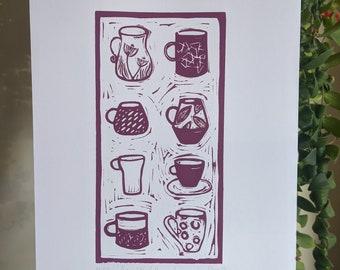 Mulberry mugs original lino print