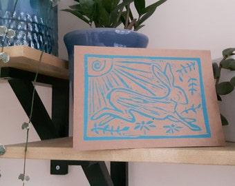Hare linocut card