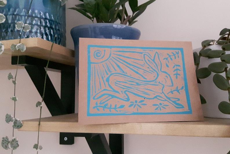 Hare linocut card image 0