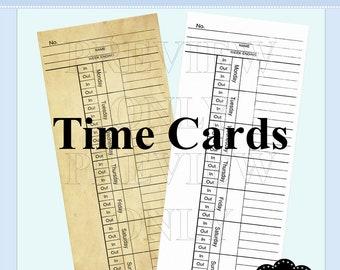 Time Cards, Cards, Note cards, Journal Spots, Ephemera, Junk Journal, Scrapbook supplies No 99