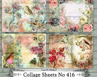Collage Sheets, Tear Sheets, Junk Journal Ephemera, No. 416