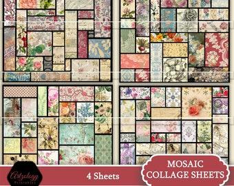MOSAIC COLLAGE Sheets, Junk Journal, Ephemera, Printable Ephemera, No. 597