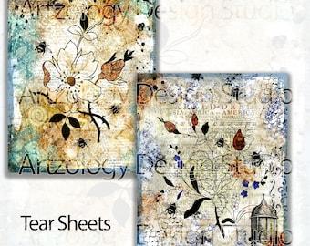 Flower and Bees Sheet/Tear Sheet, Junk Journal Ephemera, No 232