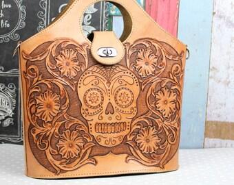 Leather Bag, Handmade Leather Purse, Crossbody bag, Day of the Dead bag, Sugar Skull, Rockabilly bag made by Claudio Nosari