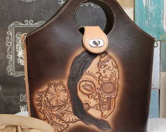 Leather Bag, Handmade Leather Purse, Cross body bag, Day of the Dead bag, Sugar Skull, Rockabilly bag made by Claudio Nosari LeatherCraft