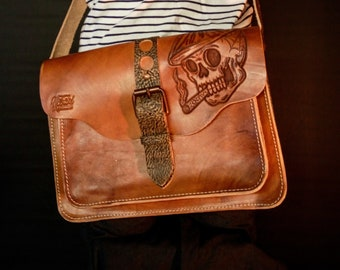 Handmade Leather Messenger bag Rustic Laptop Bag Skull Vintage office work bag Mens crossover shoulder satchel carved hipster brat style
