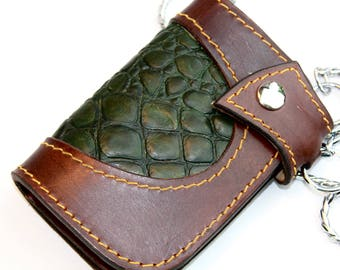 Handmade Leather Billfold, Handmade Leather Wallet, Heavy duty trucker wallet, Green Wallet, Brown Leather Wallet made by Claudio Nosari
