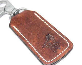 Horse Lover Gift, Leather Key Ring, Key Holder, Key fob, Key Hook, Smiley Face, Emoji, Gift For Women, Gift for Her  made by Claudio Nosari