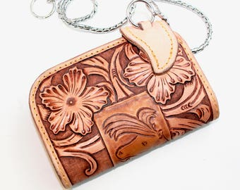 Leather Wallet, Handmade Leather Wallet, Leather Purse, Tooled, Gift for Men, Horse Wallet, Chain, Floral Carving made by Claudio Nosari