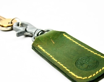 Tree Of Life Green Leather Key Ring, Key Holder, Key fob, Key Hook, Gift For Women, Gift for Him  made by Claudio Nosari in Northern Ireland