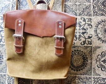 Brown Leather Backpack, Rucksack, Handmade Backpack, Bike Bag/ Bicycle Bag made by Claudio Nosari LeatherCraft