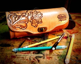 Pencil case, Floral carving, Leather round pencil case, Desk organizer, Tattooist accessories, Tattoo drawing, Artist gift, Gift for student