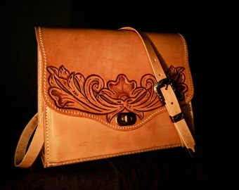 Leather handbag handmade Sheridan style Hand carved Made in Ireland Wedding gift Women gift Cowgirl Purse Evening bag Claudio Nosari Leather