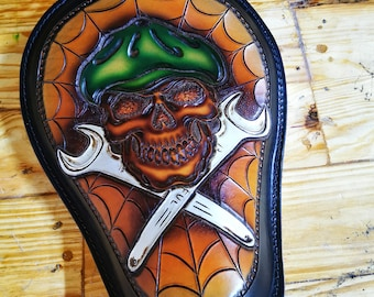 Skull and wrenches Leather Motorcycle solo seat Bobber Chopper Spiderweb FTW custom Leather Work Shovelhead Panhead Harley Davidson Bagger