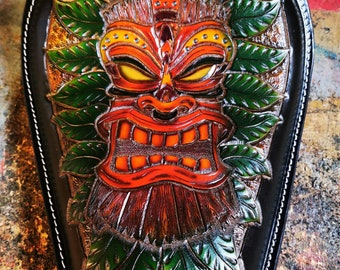 Leather Motorcycle seat Tiki Chopper seat Bobber solo seat Handmade carved leather seat Kustom Kulture Harley seat Custom Leatherwork