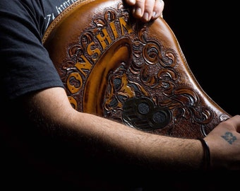 Moonshine Motorcycle Leather Seat for Custom Shovelhead, Panhead, Knucklehead, Chopper  hand made by Claudio Nosari