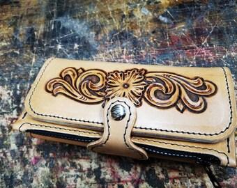Handmade Leather Clutch Wallet Ladies Biker Rockabilly Western Floral Tooled Wallet Pin-up Girl Hot Rod Kustom Kulture Claudio Nosari