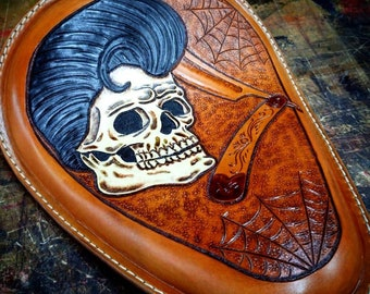 Motorcycle Leather solo seat Hand carved Chopper Old skool Kustom Kulture Bobber Harley 50s style Cutthroat Rockabilly Claudio Nosari