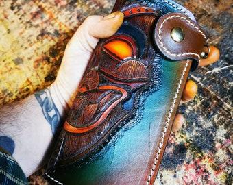 Handmade leather wallet Tiki Rockabilly Biker Wallet Custom Leather Wallet Chain wallet Kustom Kulture Hot Rod Bobber Pin-up Claudio Nosari