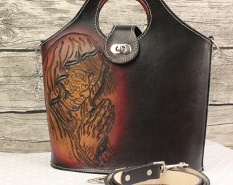 Handmade Leather Bag, Leather Tote Bag, Cross body Handbag, Shoulder bag Santa Muerte leather tote bag, handmade by Claudio Nosari
