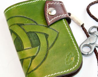 Celtic Knot Leather Wallet, Green Leather Men Wallet, Tooled Leather Purse handmade in Northern Ireland by Claudio Nosari