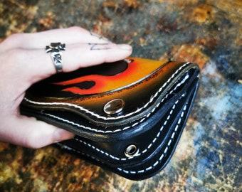 Handmade Leather chain Wallet Biker wallet Skull Flames Old school Heavy-duty Harley Custom leatherwork made in Ireland by Claudio Nosari