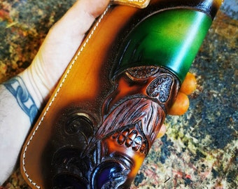 Handmade Chain Leather Wallet Chicano Mayans Biker wallet Bagger Chopper Bobber Custom leather wallet Skull Handmade wallet Claudio Nosari