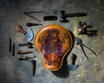 FTW Santa Muerte Leather Motorcycle Seat for Custom Shovelhead, Panhead, Knucklehead, Chopper
