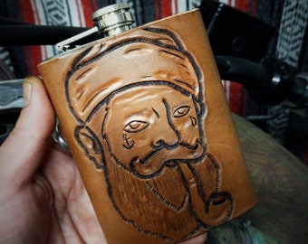 custom leather stainless steel hip flask 8oz. hand carved handmade old school design biker hot rod sailor kustom kulture low brow