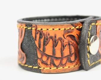 Leather Cuff Bracelet, Handmade Leather Cuff, Leather Bracelet, Cuff Wrap, Custom and Personalized Gift, Leather Wrap Bracelet, Skulls
