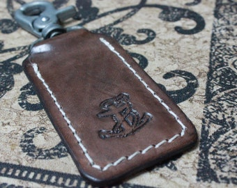 Anchor, Brown Leather Keyring, Key Holder, Key Ring, Key Chain, Key Hook, Anchor, Rockabilly Key Fob made by Claudio Nosari