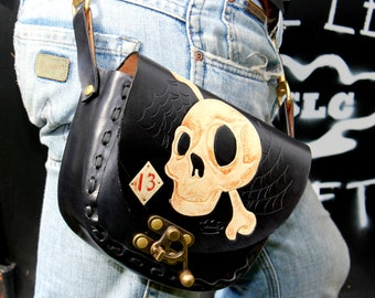 Leather  BELT and SHOULDER BAG cross body bag with skull and bone thirteen handmade by Claudio Nosari