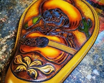 Mariachi Leather Motorcycle Seat Custom Harley Davidson Chopper Bobber Solo Seat Knucklehead Bagger handmade Chicano old school