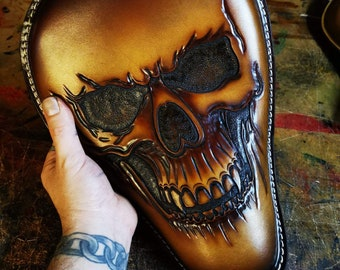Skull Leather Motorcycle Seat Custom Harley Davidson Chopper Bobber Solo Seat Knucklehead Bagger handmade Chicano old school