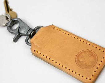 Breast Cancer Awareness Leather Keyring, Key Holder, Key Ring, Key Chain, Key Hook, Leather Gift made by Claudio Nosari