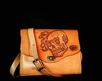 Day of the dead Sugar skull Leather handbag Tattoo Rockabilly Irish Craft Handmade in Ireland by Claudio Nosari Leathercraft