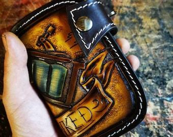 Handmade leather Chain Wallet Tattoo machine Biker Wallet Dollars Tooled leather Bobber Tattooist Biker Wallet Kustom Kulture Claudio Nosari